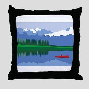Mountain Canoe Lake Throw Pillow