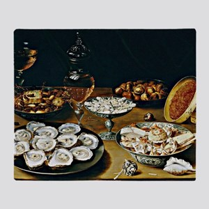Osias Beert - Dishes with Oysters, F Throw Blanket