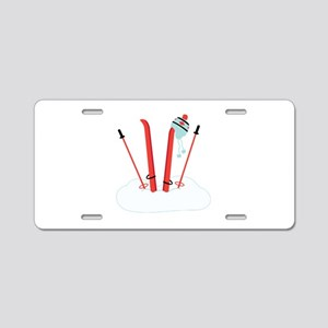 Snow Skis Aluminum License Plate