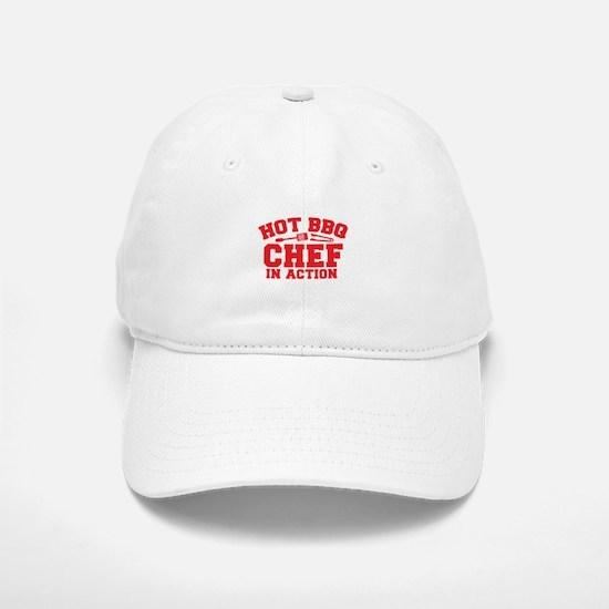 Hot BBQ Chef in Action Baseball Baseball Cap