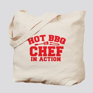 Hot BBQ Chef in Action Tote Bag