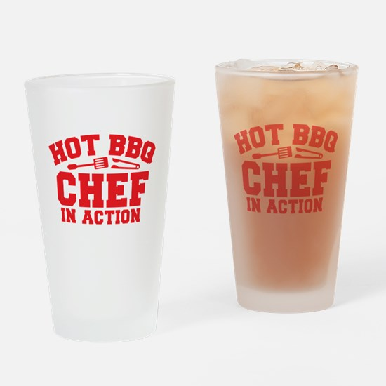 Hot BBQ Chef in Action Drinking Glass