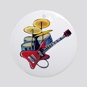 electric guitar drumset red blue Ornament (Round)