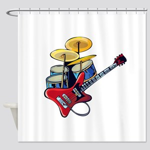 electric guitar drumset red blue Shower Curtain