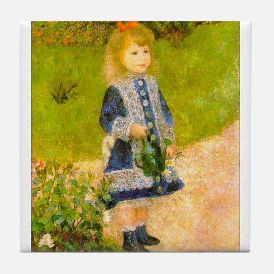 Girl With a Watering Can Tile Coaster