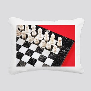 Black and white chess bo Rectangular Canvas Pillow