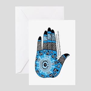 Blue Sanskrit Palm Henna Greeting Card