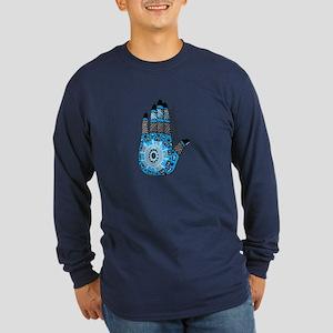 Blue Sanskrit Palm Henna Long Sleeve Dark T-Shirt