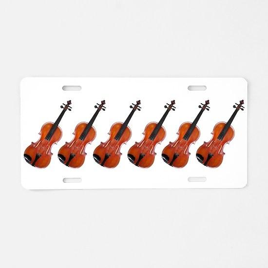 Violins / Violas in a Row Aluminum License Plate