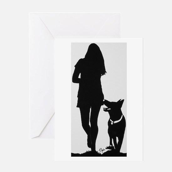 German Shepherd Heel Silhoutte Greeting Cards