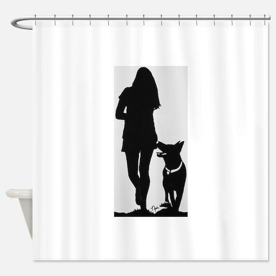 German Shepherd Heel Silhoutte Shower Curtain