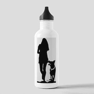German Shepherd Heel Silhoutte Water Bottle