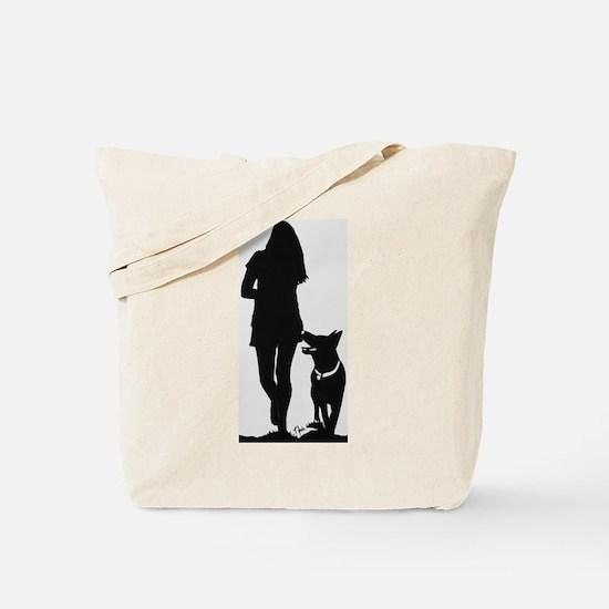 German Shepherd Heel Silhoutte Tote Bag