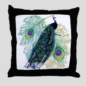 Vintage Peacock Bird Feathers Etchings Elegant Thr