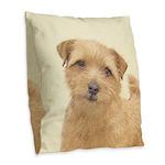Norfolk Terrier Burlap Throw Pillow