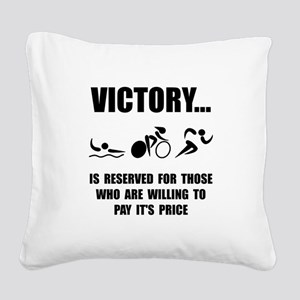Victory Triathlon Square Canvas Pillow