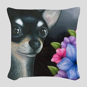 Dog 80 black Chihuahua Woven Throw Pillow