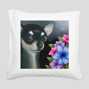 Dog 80 black Chihuahua Square Canvas Pillow