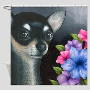 Dog 80 Black Chihuahua Shower Curtain