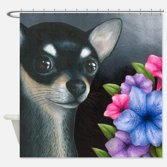Dog 80 Black Chihuahua Shower Curtain
