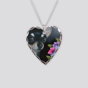 Dog 80 black Chihuahua Necklace Heart Charm