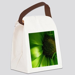 Green Daisy Canvas Lunch Bag