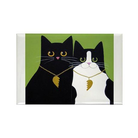 Black & Tuxedo CATS In Love ART Magnets