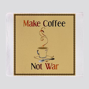 Make Coffee No War Throw Blanket