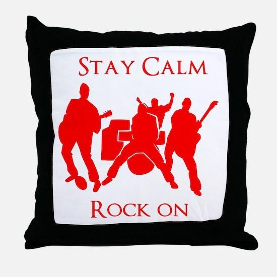 Stay Calm Rock On Mens Music T Shirt Throw Pillow