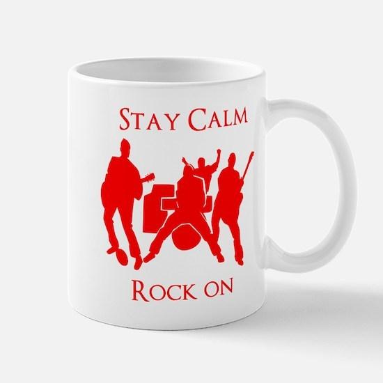 Stay Calm Rock On Mens Music T Shirt Mugs