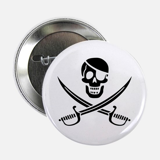 "Jolly Roger -bw 2.25"" Button"