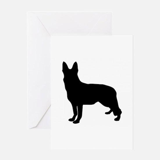 German Shepherd Silhouette Greeting Cards