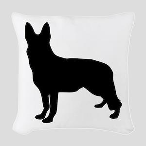 German Shepherd Silhouette Woven Throw Pillow