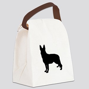 German Shepherd Silhouette Canvas Lunch Bag