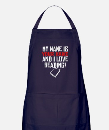 My Name Is And I Love Reading Apron (dark)