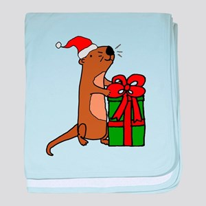 Funny Sea Otter with Christmas Gift baby blanket