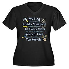 Agility Champion Women's Plus Size V-Neck Dark T-S