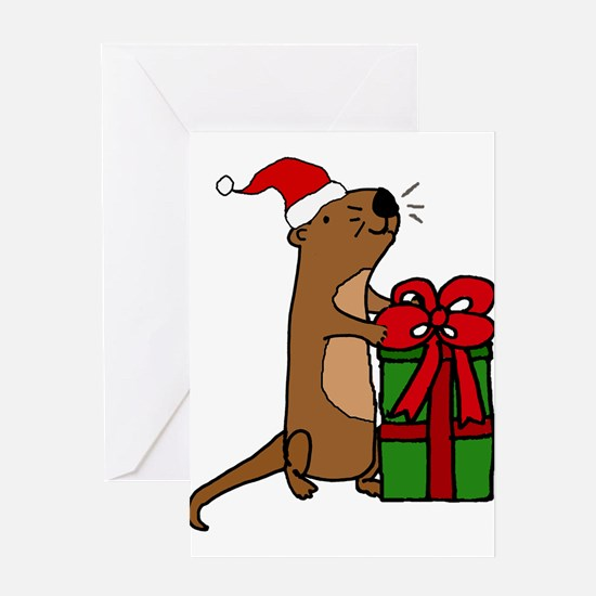 Funny Sea Otter with Christmas Gift Greeting Cards