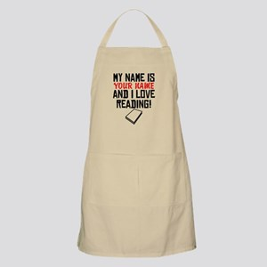 My Name Is And I Love Reading Apron