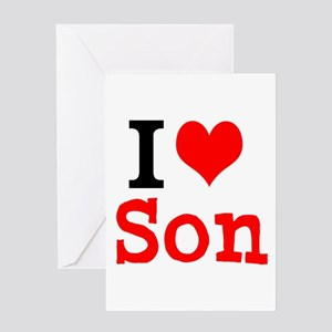 I Love Son Greeting Cards