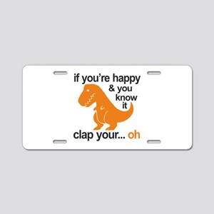 T-Rex clap your hands Aluminum License Plate