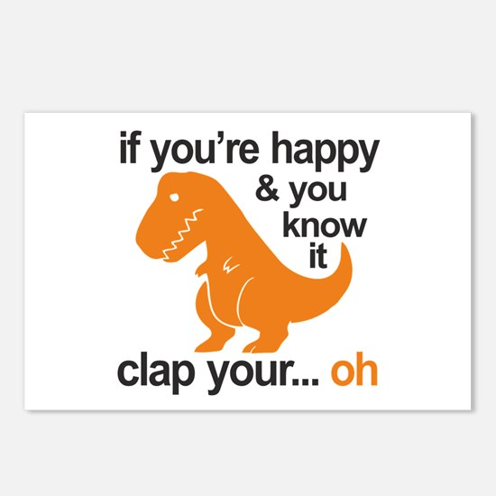 T-Rex clap your hands Postcards (Package of 8)