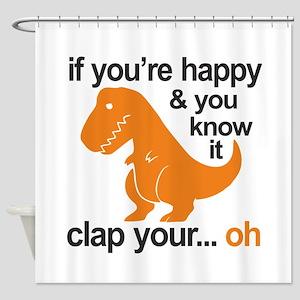 T-Rex clap your hands Shower Curtain