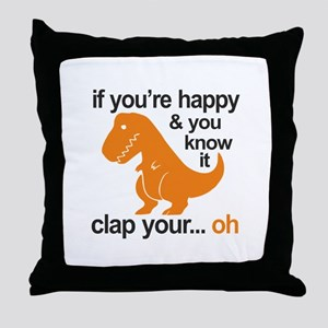 T-Rex clap your hands Throw Pillow