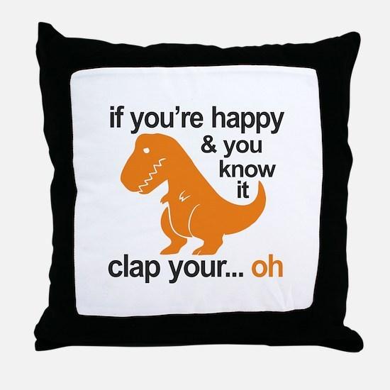 T-Rex clap your hands Throw Pillow
