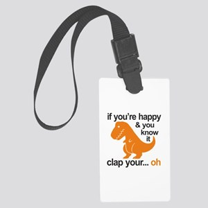 T-Rex clap your hands Large Luggage Tag