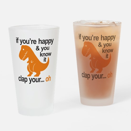 T-Rex clap your hands Drinking Glass