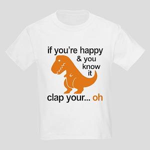 T-Rex clap your hands Kids Light T-Shirt