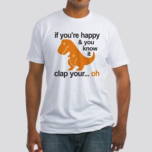 T-Rex clap your hands Fitted T-Shirt