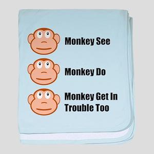 Monkey See Monkey Do baby blanket